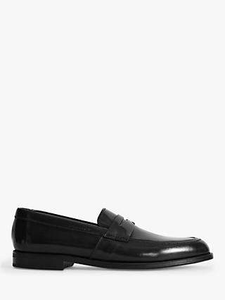 Reiss Ernest Leather Penny Loafers, Black