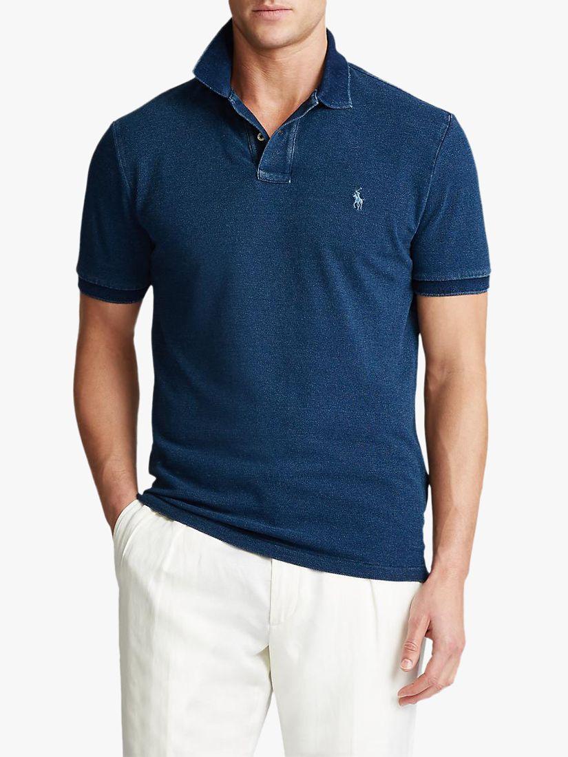 Ralph Lauren Big & Tall player logo classic fit buttondown oxford shirt in bsr blue