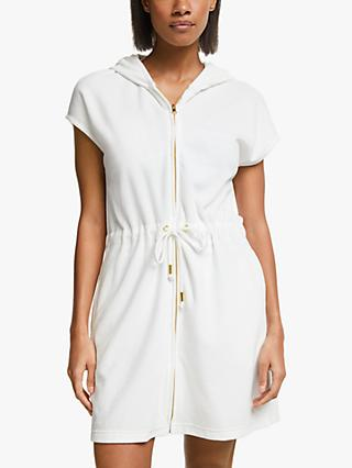 John Lewis & Partners Velour Zip Beach Robe, Ivory