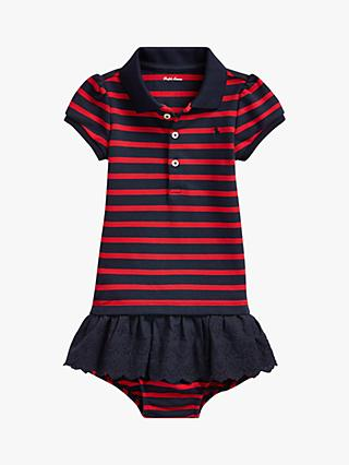 Ralph Lauren Baby Stripe Dress and Knickers Set, Red