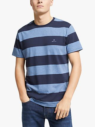 GANT Barstripe Short Sleeve Crew Neck T-Shirt, Denim Blue