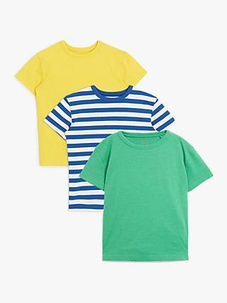 John Lewis & Partners Boys' T-Shirts, Pack of 3, Green/Multi