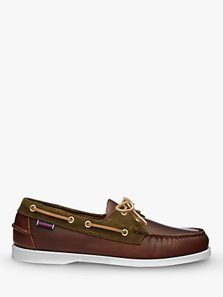 Sebago Trickey Leather Boat Shoes, Cuoio/Military Green