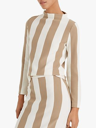 Club Monaco Stripe Mock Neck Jumper, Khaki/Multi