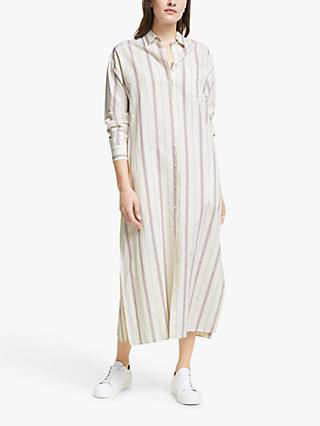 Weekend MaxMara Papy Linen Striped Midi Dress, Creamy Lines