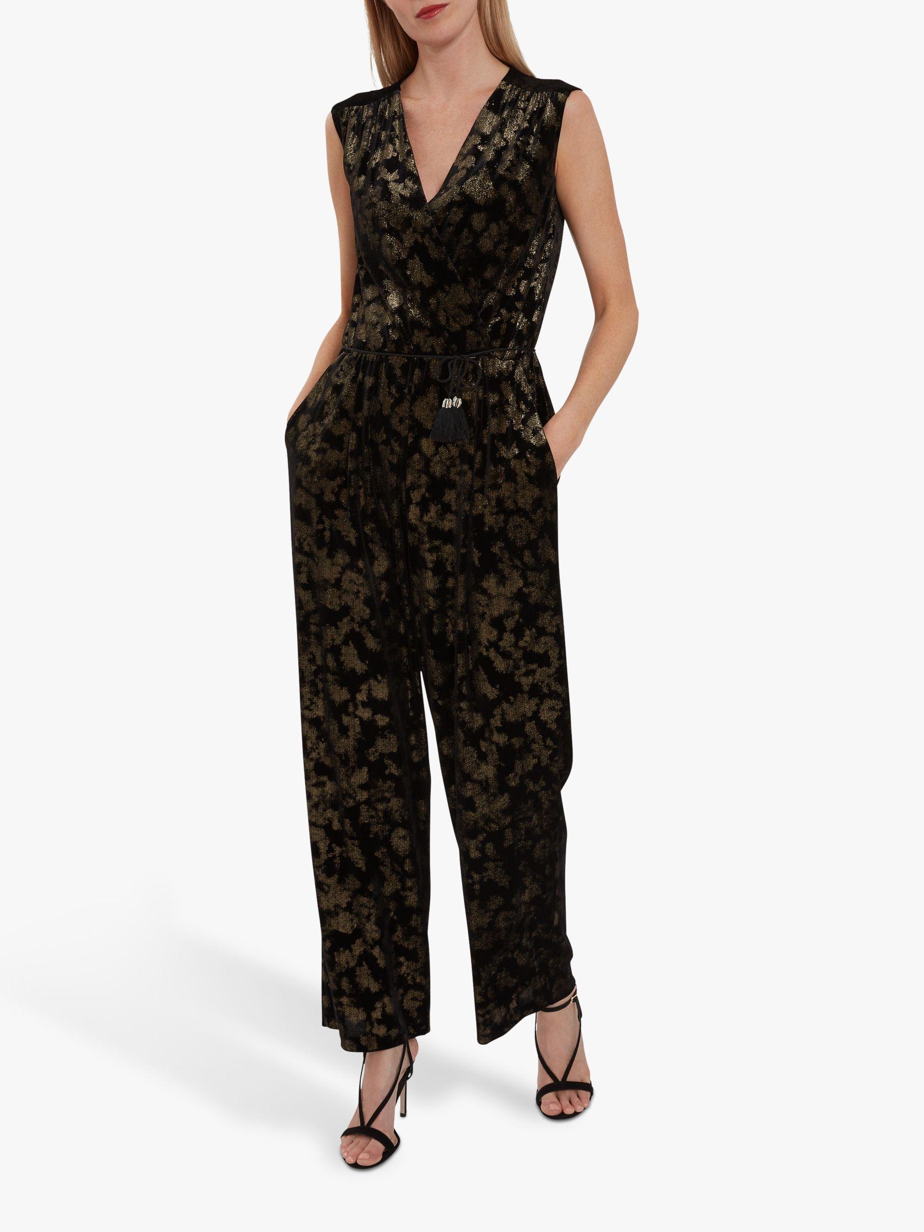 Gina Bacconi Elzina Velvet Jumpsuit Black Gold At John Lewis Partners