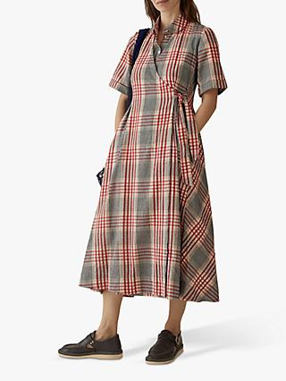 Toast Seersucker Check Wrap Dress, Red/Multi