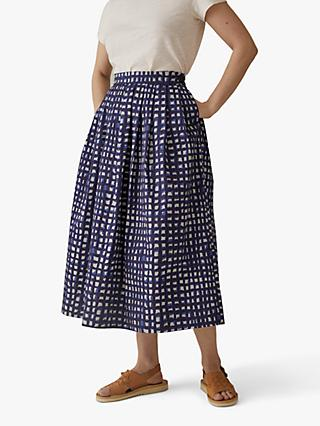 Toast Anni Print Poplin Skirt, Ink