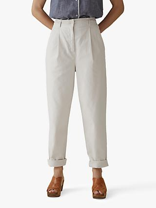 Toast Cotton Canvas Tapered Trousers, Parchment