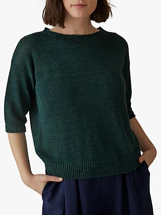 Toast Half Sleeve Slub Linen Sweater, Juniper