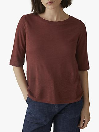 Toast Linen Half Sleeve T-Shirt, Burnt Red