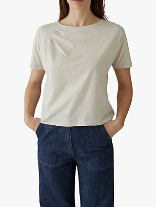 Toast Gathered Shoulder T-Shirt, Pebble White