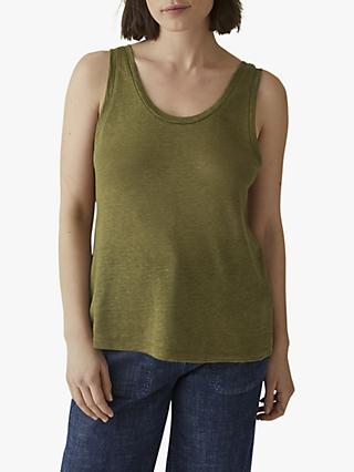 Toast Scoop Neck Linen Vest Top, Olive