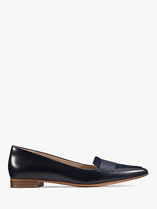 Clarks Laina 15 Pointed Leather Loafers, Navy
