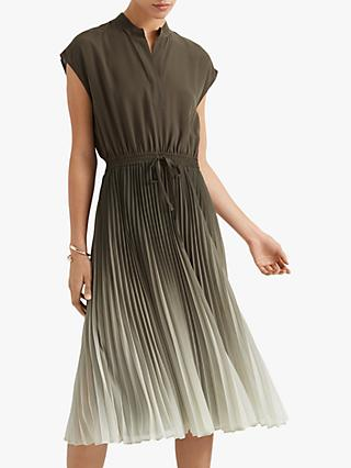 Club Monaco Ombre Pleated Midi Dress, Olive