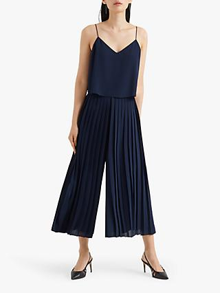Club Monaco Pleated Camo Top Jumpsuit, Navy Night