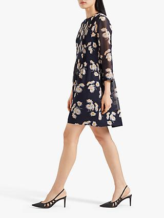 Club Monaco Odhette Silk Dress, Blue/Orange