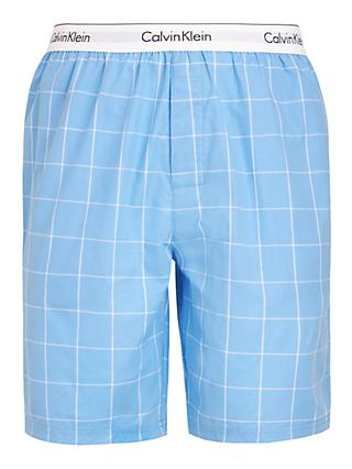 Calvin Klein Windowpane Check Sleep Shorts, Blue