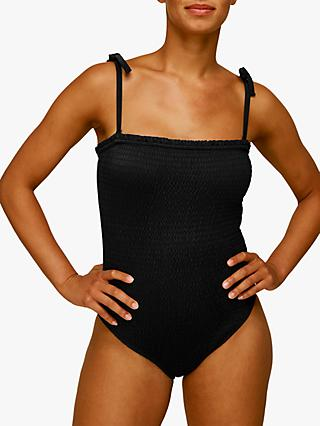 Whistles Shirred Tie Strap Swimsuit, Black