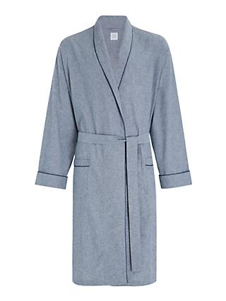 John Lewis & Partners Organic Cotton Chambray Robe, Blue