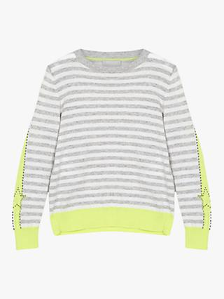 Mintie by Mint Velvet Neon Stud Stripe Jumper, Grey