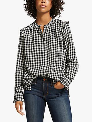 AND/OR Arlo Check Blouse, Black