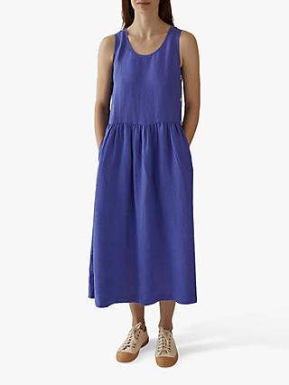 Toast Garment Dye Linen Side Button Dress, Blue