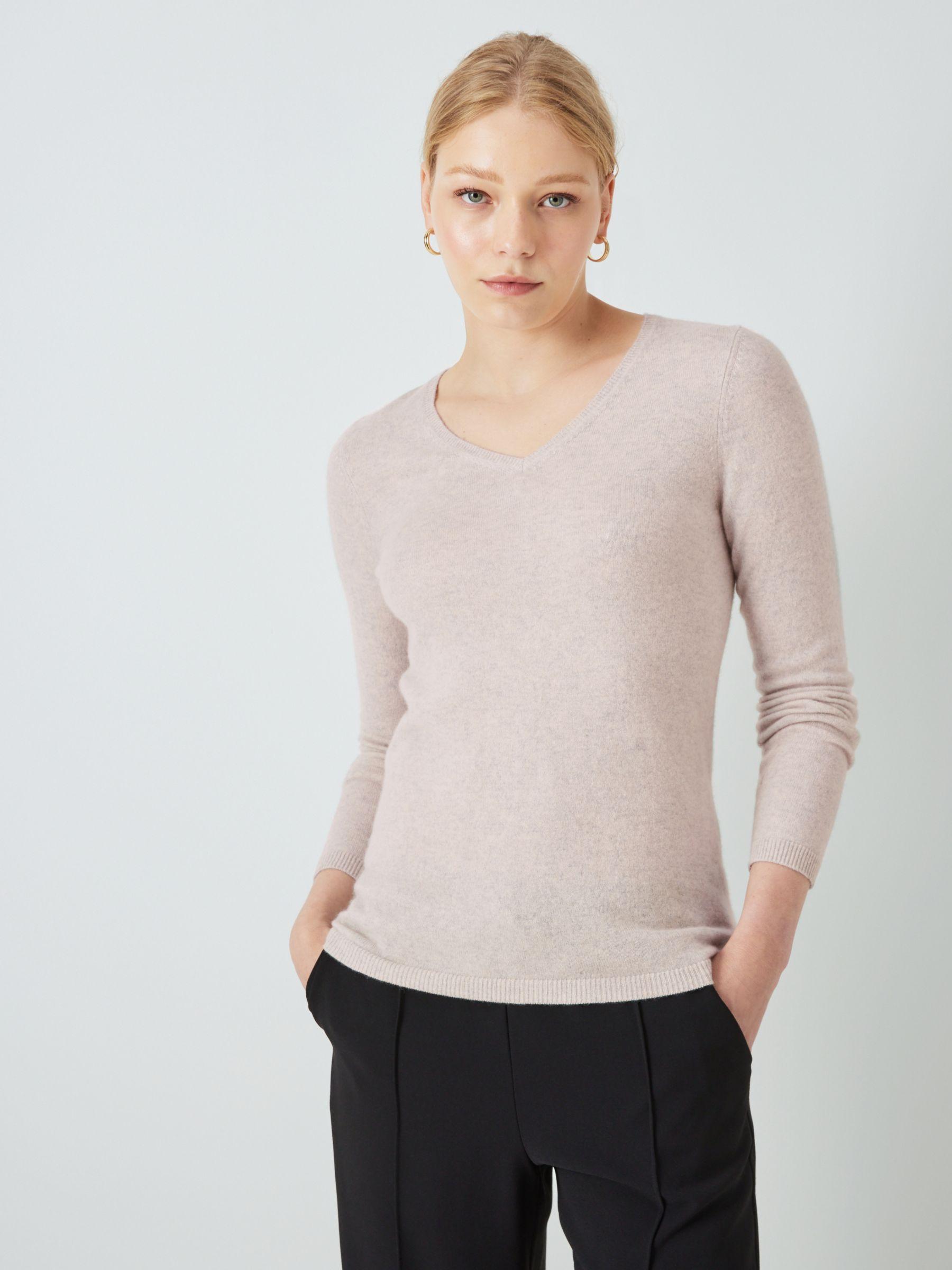 John Lewis & Partners Cashmere Rib Trim V Neck Sweater, Light Grey