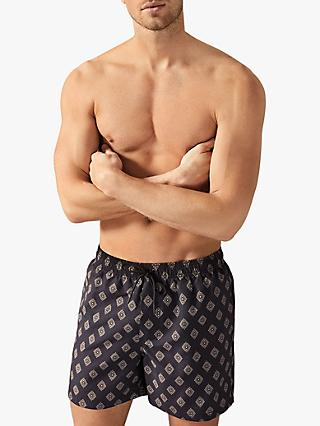 Reiss Deco Geo Print Swim Shorts, Navy