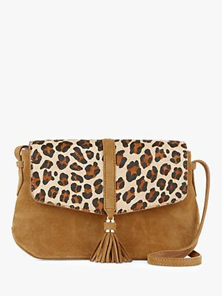 Hobbs Bexley Leather Cross Body Bag, Leopard