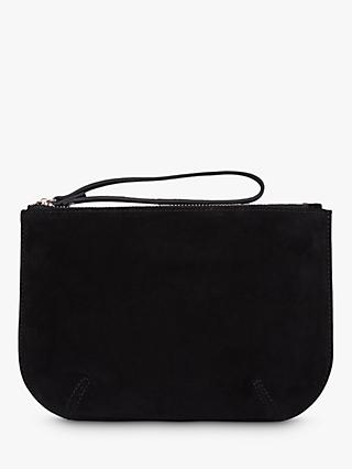 Hobbs Mayfair Suede Wristlet Clutch Bag, Black