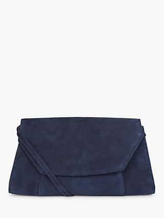 Hobbs Cartmel Suede Clutch Bag, Navy