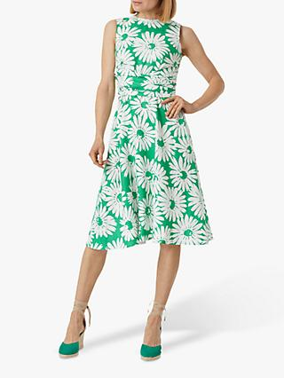 Hobbs Twitchill Floral Print Midi Dress, Green/White