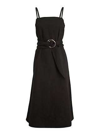 Club Monaco Belted A-Line Dress, Black