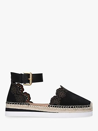 See By Chloé Lace Cut Ankle Suede Espadrilles, Black
