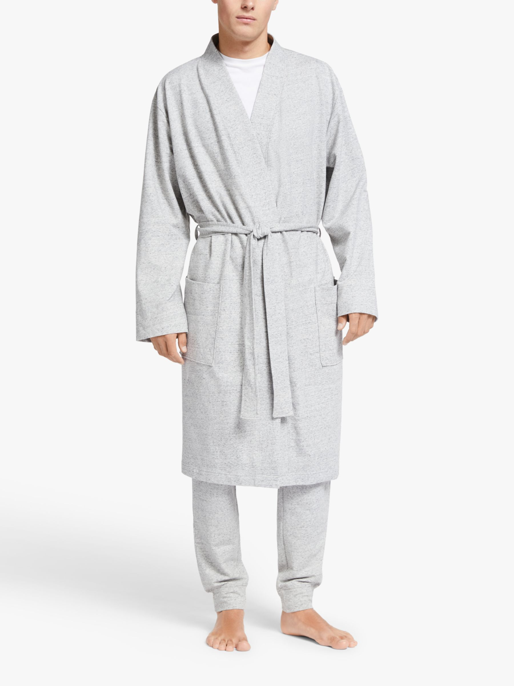 John Lewis Partners Stretch Organic Cotton Robe Grey At John Lewis Partners