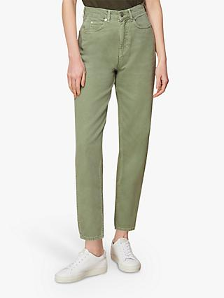 Whistles Barrel Ankle Grazer Jeans, Pale Green