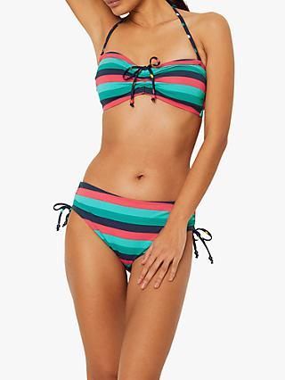 White Stuff Multi Stripe Drawstring Bikini, Jade Green/Multi