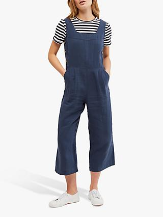 White Stuff Halle Square Neck Cropped Linen Jumpsuit, Navy