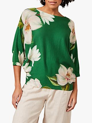 Phase Eight Fenia Floral Print Jumper, Green
