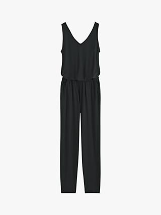 hush Cropped Jersey Jumpsuit, Black