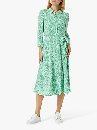 Hobbs Frederica Shirt Dress, Green/Multi