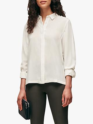 Whistles Classic Silk Shirt, Ivory