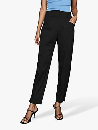 Reiss Madeline Tapered Trousers, Black