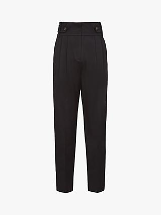 Reiss Stanton Button Trousers, Black