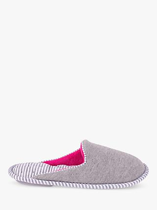 Totes Stripe Mule Slippers, Grey