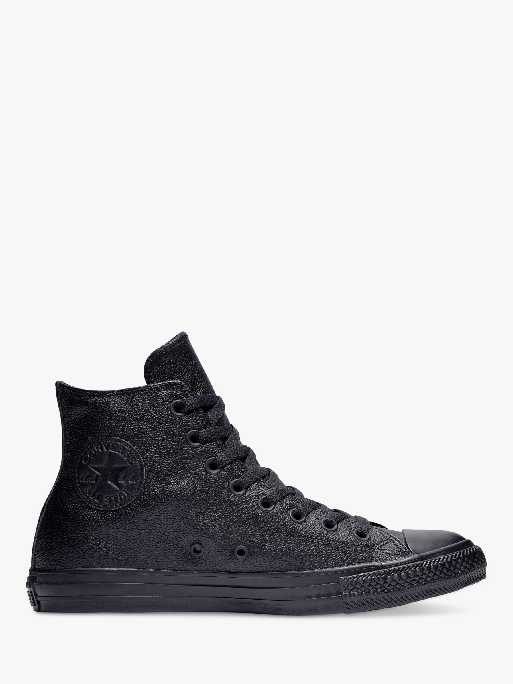 proteger Bigote Idear  Converse Chuck Taylor All Star Leather Hi-Top Trainers, Black Mono at John  Lewis & Partners