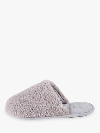 totes Textured Faux Fur Mule Slippers, Grey