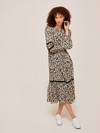 Somerset by Alice Temperley Animal Tiered Midi Dress, Neutrals