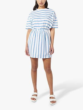 Ninety Percent Organic Cotton Stripe Short Sleeve Mini Dress, Cornflower/Optic White